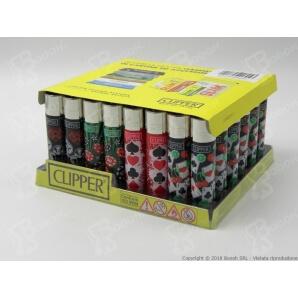 CLIPPER LARGE CASINO GAMES - BOX DA 48 ACCENDINI A PIETRINA RICARICABILI CON SISTEMA DI PRESSATURA DEL TABACCO 28,99€