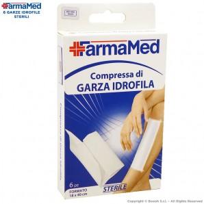 FARMAMED COMPRESSA DI GARZA IDROFILA STERILE TRASPIRANTE - CONFEZIONE DA 6 PEZZI MISURA 18x40 cm 2,79€