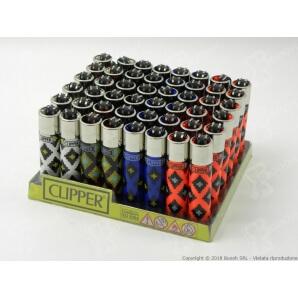 CLIPPER LARGE GEOMETRIC PRINT - BOX DA 48 ACCENDINI A PIETRINA RICARICABILI CON SISTEMA DI PRESSATURA DEL TABACCO 28,99€