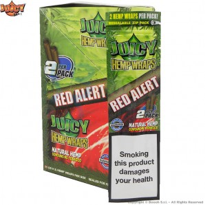JUICY JAY'S HEMP WRAPS MANIC RED ALLERT AROMA CAMPI DI FRAGOLE - BLISTER DA 2 BLUNT IN CANAPA 2,21€