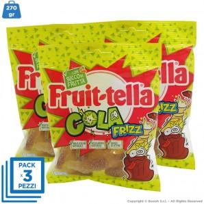 CARAMMELLE GOMMOSE BOTTIGLIETTE COLA FRIZZ by FRUITTELLA - 3 BUSTINE DA 90gr | SENZA GLUTINE 4,55€