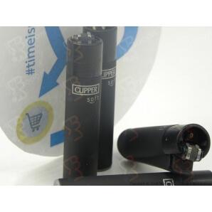 CLIPPER LARGE BLACK SOFT TOUCH - 4 ACCENDINI SFUSI RICARICABILI A PIETRINA E CON SISTEMA DI PRESSATURA DEL TABACCO 2,69€
