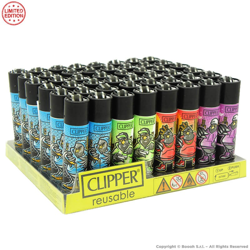 ACCENDINI CLIPPER HIP HOP BIRDS PREMIUM LIMITED EDITION | BOX DA 48 PEZZI LARGE E RICARICABILI 45,99€