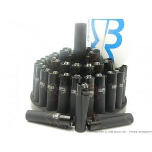 CLIPPER LARGE BLACK SOFT TOUCH - BOX DA 48 ACCENDINI RICARICABILI A PIETRINA E CON SISTEMA DI PRESSATURA DEL TABACCO 28,99€