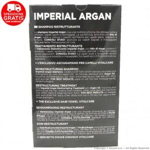 VITALCARE IMPERIAL ARGAN : SHAMPOO 250ml + TRATTAMENTO RISTRUTTURANTE + ASCIUGAMANO PER CAPELLI   COFANETTO IDEA REGALO 18,65€