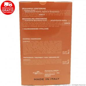 VITALCARE KERATIN PROFESSIONAL : SHAMPOO 250ml + TRATTAMENTO RINFORZANTE + ASCIUGAMANO PER CAPELLI | COFANETTO IDEA REGALO 18...