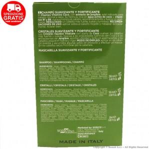 VITALCARE COCCO VITAMINS : SHAMPOO 250ml + CRISTALLI ADOLCENTI E FORTIFICANTI + MASCHERA | COFANETTO IDEA REGALO 18,65€