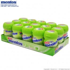 MENTOS PURE FRESH LIME MINT NANO BOTTLE CHEWING GUM CON TE' VERDE - BOX DA 15 BARATTOLINI 17,77€