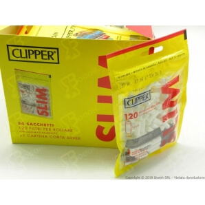 CLIPPER FILTRI LISCI SLIM 6MM - BOX DA 34 BUSTE DA 120 FILTRI + 50 CARTINE SILVER OMAGGIO 62,79 €