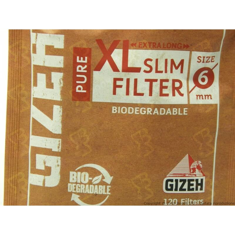 GIZEH FILTRI BIODEGRADABILI XL LONG PURE SLIM 6MM - 1 BUSTINA DA 120 FILTRI 0,99 €