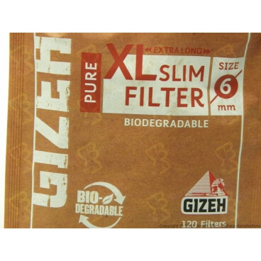 GIZEH FILTRI BIODEGRADABILI XL LONG PURE SLIM 6MM - 1 BUSTINA DA 120 FILTRI