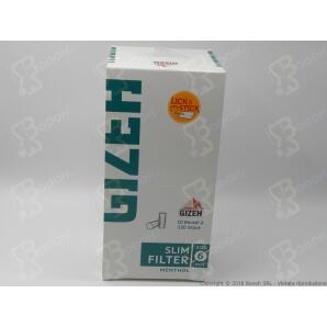 GIZEH FILTRI AL MENTOLO SLIM 6MM - CONFEZIONE DA 10 BUSTINE DA 120 FILTRI 16,75€
