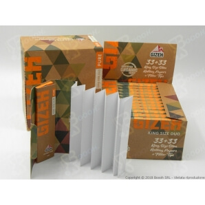 GIZEH CARTINE DUO SLIM PURE HEMP LUNGHE KING SIZE+FILTRI IN CARTA - CONFEZIONE DA 25 LIBRETTI DA 33 CARTINE IN PURA CANAPA 16...