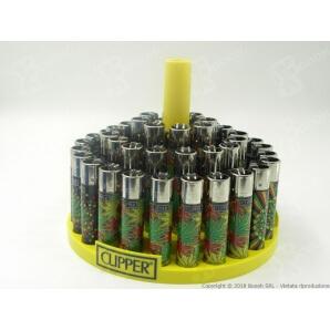 CLIPPER LARGE BLACK WEED LEAVES - BOX DA 48 ACCENDINI A PIETRINA RICARICABILI CON SISTEMA DI PRESSATURA DEL TABACCO 28,99€