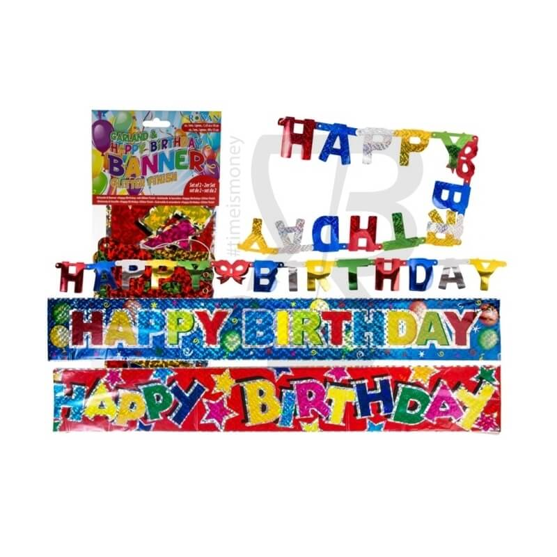 GHIRLANDA HAPPY BIRTHDAY SET DA 2 PEZZI - FESTONE 2,49 €