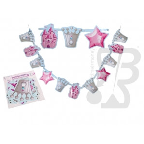 Accessori per Feste e Party GHIRLANDA IN CARTA PRINCIPESSA CON 11 PENDENTI 19X18cm - 1 STRISCIONE 3,00 €