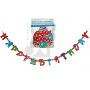 GHIRLANDA DI CARTA HAPPY BIRTHDAY - 1 PEZZO 2,99 €