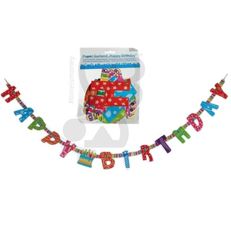 GHIRLANDA DI CARTA HAPPY BIRTHDAY - 1 PEZZO 2,99€