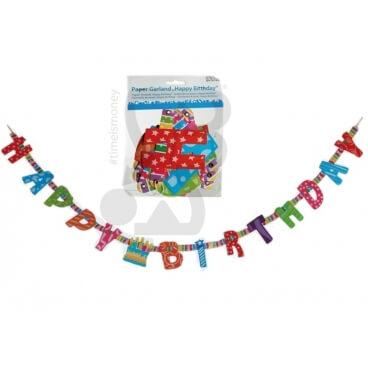 GHIRLANDA DI CARTA HAPPY BIRTHDAY - 1 PEZZO