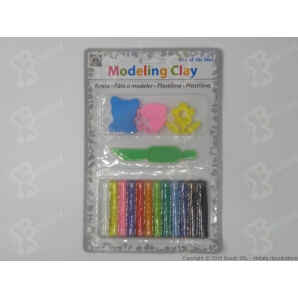 PLASTILINA 12 PEZZI COLORATI CON ACCESSORI - 1 BLISTER 1,99 €
