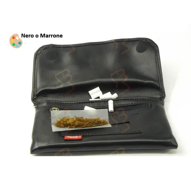 PORTA TABACCO DELL'ATOMIC CON ZIP E PORTACARTINE .MISURA XL, BLACK & BROWN - 1 PEZZO 6,45€