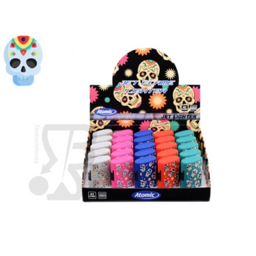 ATOMIC ACCENDINI TURBO ANTIVENTO JET FLAME ''LA CATRINA'' TESCHI COLORATI - 1 BOX DA 25 ACCENDINI