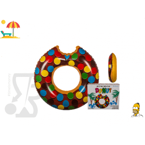 CIAMBELLA GONFIABILE SALVAGENTE FORMA DI DONUT MARRONE CON CODETTE COLORATE , HOMER SIMPSON , 119 cm - MODA ESTATE MARE PISCI...