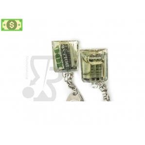 Accessori PORTACHIAVI IN ACRILICO TRASPARENTE CONTENENTE 100$ DOLLARI 6,49€