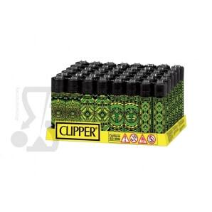 CLIPPER LARGE AZTECA LEAVES - BOX DA 48 ACCENDINI A PIETRINA RICARICABILI CON SISTEMA DI PRESSATURA DEL TABACCO 28,99€