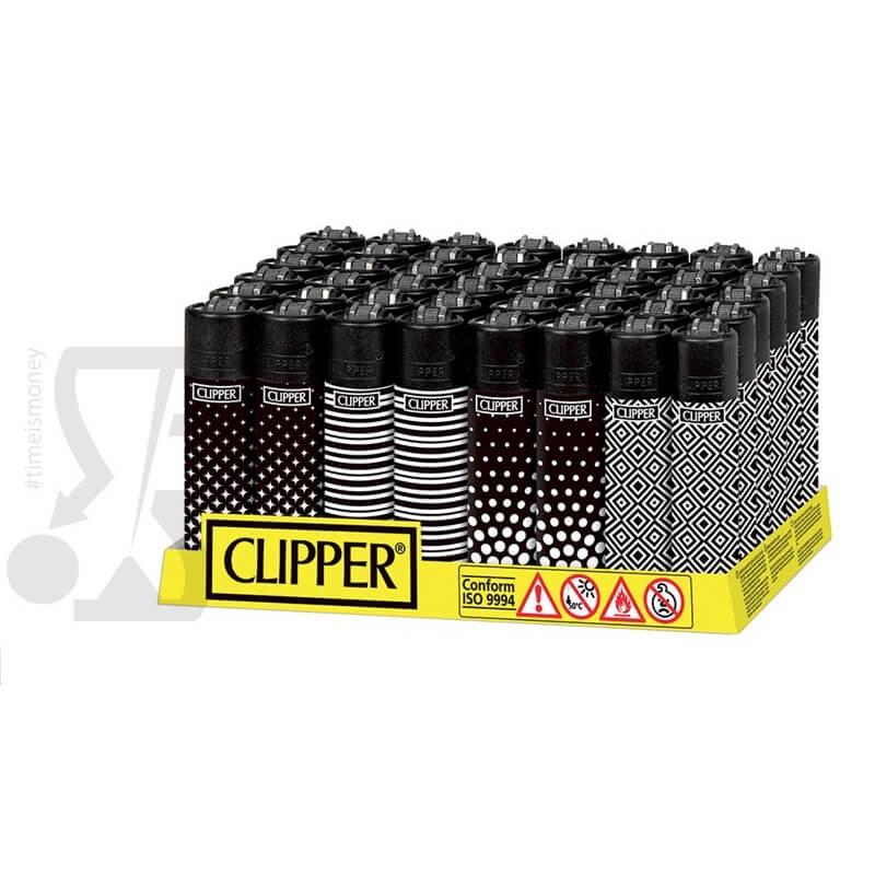 CLIPPER LARGE MIX PATTERN - BOX DA 48 ACCENDINI A PIETRINA RICARICABILI CON SISTEMA DI PRESSATURA DEL TABACCO 28,99€