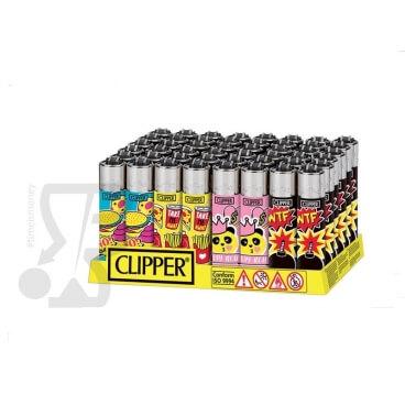 CLIPPER LARGE FUNNY PINS - BOX DA 48 ACCENDINI A PIETRINA RICARICABILI CON SISTEMA DI PRESSATURA DEL TABACCO