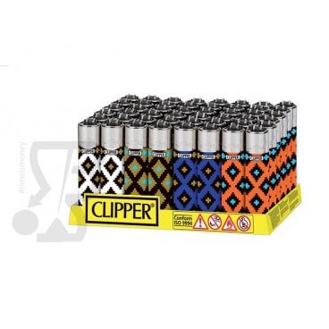 CLIPPER LARGE GEOMETRIC PRINT - BOX DA 48 ACCENDINI A PIETRINA RICARICABILI CON SISTEMA DI PRESSATURA DEL TABACCO