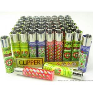 CLIPPER LARGE CLASSIC HAPPY WEEDS - BOX DA 48 ACCENDINI A PIETRINA RICARICABILI CON SISTEMA DI PRESSATURA INTEGRATO 39,99€