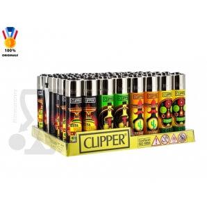 CLIPPER LARGE TEQUILA TIME - BOX DA 48 ACCENDINI A PIETRINA RICARICABILI CON SISTEMA DI PRESSATURA DEL TABACCO 39,99€