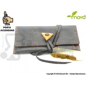 PORTATABACCO MAVA' MODELLO BLACK MAMBA IN PELLE NERA, CON TASCA PORTA FILTRINI, PRATICO PORTA CARTINE E PORTA ACCENDINO 23,99€