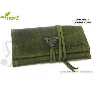 PORTATABACCO MAVA' MODELLO GREEN CHAMOIS, IN PELLE SCAMOSCIATA VERDE CON PORTA FILTRI IN COTONE E PRATICO PORTA CARTINE CORTE...