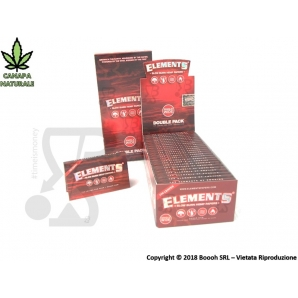CARTINE CORTE ELEMENTS IN PURA CANAPA NATURALE DOPPIE - RED SINGLE WIDE DOUBLE - BOX DA 25 LIBRETTI