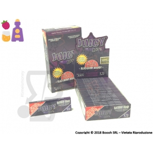 CARTINE CORTE DI CANAPA JUICY JAY'S 1¼ AROMA BLACKBERRY BRANDY - BOX 24 LIBRETTI 28,99 €