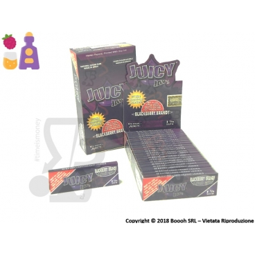 CARTINE CORTE DI CANAPA JUICY JAY'S 1¼ AROMA BLACKBERRY BRANDY - BOX 24 LIBRETTI