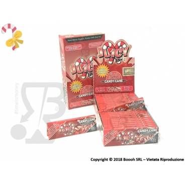 CARTINE CORTE NATALIZIE CANAPA JUICY JAY'S 1¼ FRAGRANZA CANDY CANE - BOX 24 LIBRETTI