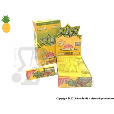 CARTINE CORTE IN PURA CANAPA JUICY JAY'S 1¼ AROMA ANANAS - PINEAPPLE - BOX 24 LIBRETTI
