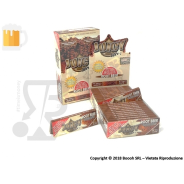 CARTINE CORTE IN CANAPA  JUICY JAY'S SINGOLE 1¼ AROMA BIRRA - ROOT BEER - BOX 24 LIBRETTI