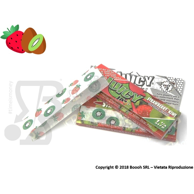 CARTINE CORTE JUICY JAY'S 1¼ AROMA FRAGOLA E KIWI - LIBRETTO SINGOLO 1,59 €