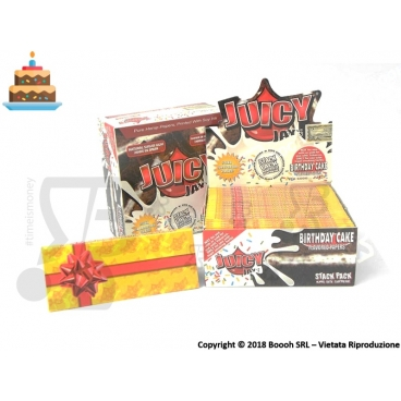 CARTINE LUNGHE JUICY JAY'S KING SIZE AROMA TORTA DI COMPLEANNO - BIRTHDAY CAKE - BOX 24 LIBRETTI
