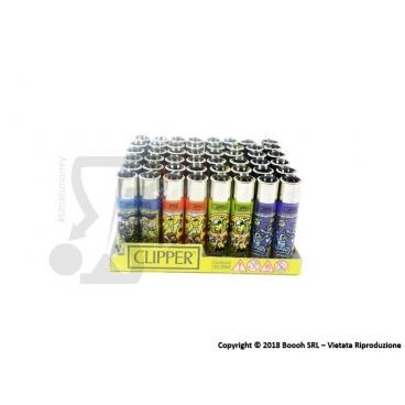 CLIPPER LARGE/GRANDI OMINI FANTASY - BOX DA 48 ACCENDINI  A PIETRINA RICARICABILI CON SISTEMA DI PRESSATURA INTEGRATO