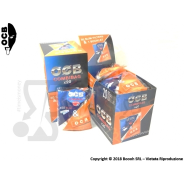 OCB COMBIBAG 50 FILTRI SLIM 6MM + 50 CARTINE OCB ORANGE - BOX DA 20 BUSTINE