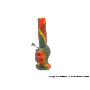 BONG IN SILICONE 26cm RASTA SKULL - 1 PEZZO