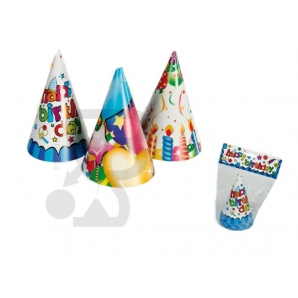 CAPPELLINI DA PARTY IN CARTONCINO - HAPPY BIRTHDAY, CONFEZIONE DA 6 PEZZI 2,49 €