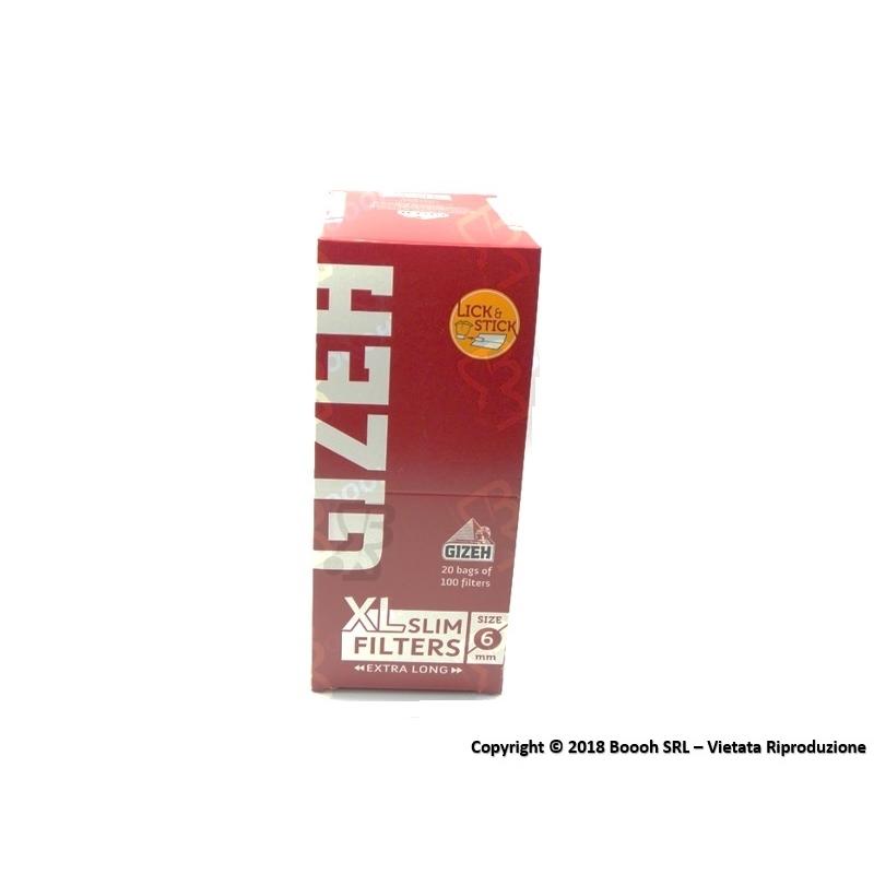 GIZEH FILTRI XL LONG CON STRISCIA GOMMATA SLIM 6MM - CONFEZIONE DA 20 BUSTINE DA 100 FILTRI 11,75€