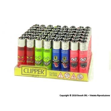 CLIPPER ACCENDINI MICRO MONSTER MOUTH - BOX DA 48 ACCENDINI A PIETRINA CON SISTEMA DI PRESSATURA DEL TABACCO